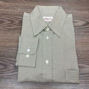 Brioni Taupe, Black & White Check Shirt L